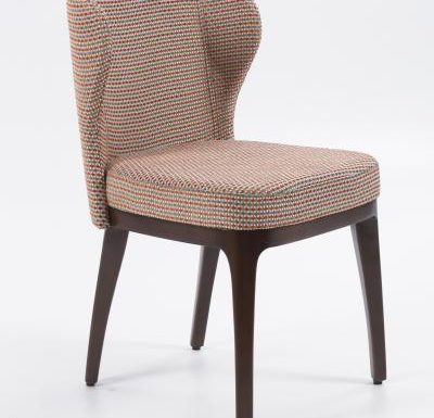 Fine dining chair upholstered seat and back red side view