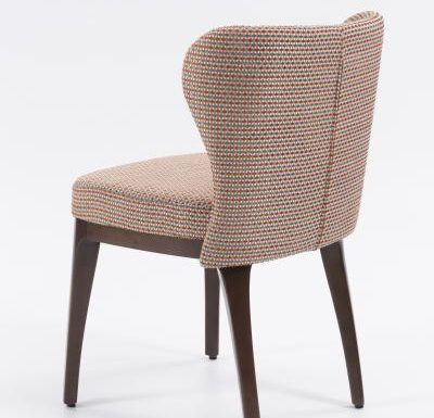Fine dining chair upholstered seat and back red rear view