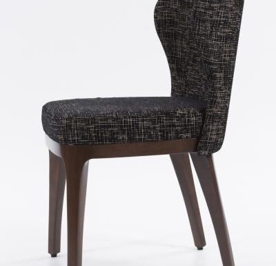 Fine dining chair upholstered seat and back black side view