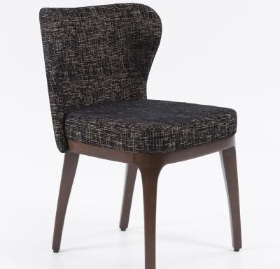 Fine dining chair upholstered seat and back black front view