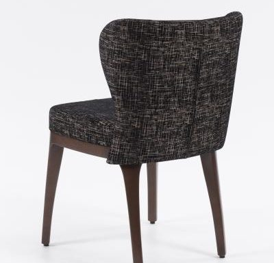 Fine dining chair upholstered seat and back black rear view