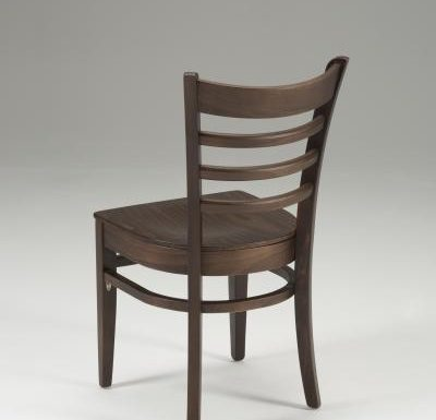 Beech side chair with upholstered seat pad - brown rear view
