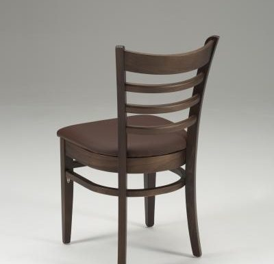 Beech side chair with upholstered seat pad brown rear close up