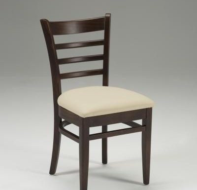 Beech side chair with upholstered seat pad beige front view