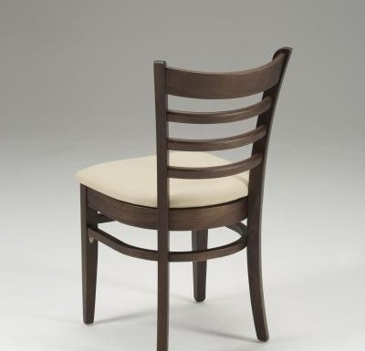 Beech side chair with upholstered seat pad beige rear view
