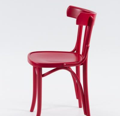 Wooden side chair with frame back red side view