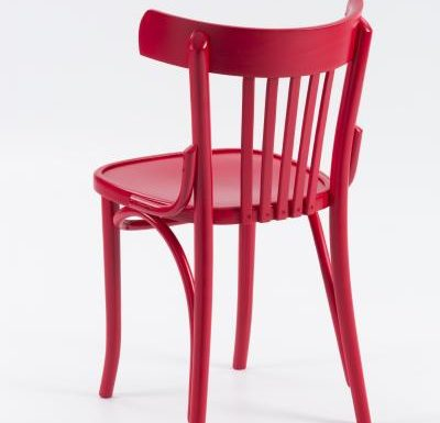 Wooden side chair with frame back red rear view