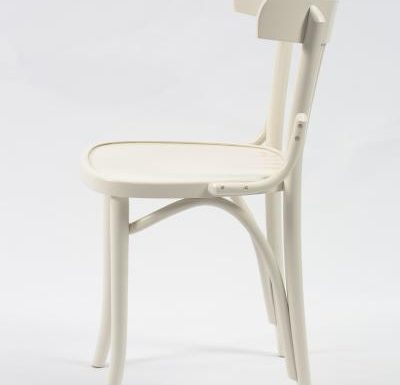 Wooden side chair with frame back white side view