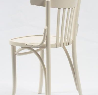 Wooden side chair with frame back white rear close up