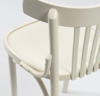 Wooden side chair with frame back white close up