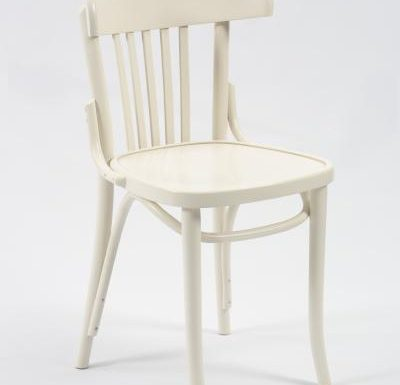 Wooden side chair with frame back white front view