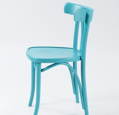 Wooden side chair with frame back blue side view