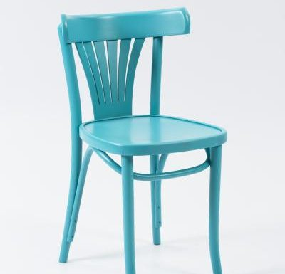 Wooden side chair with frame back blue front view