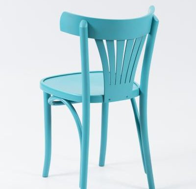 Wooden side chair with frame back blue rear view