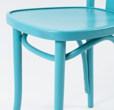 Wooden side chair with frame back blue close up