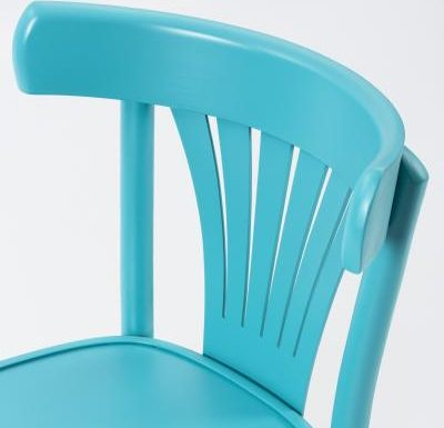 Wooden side chair with frame back blue back close up