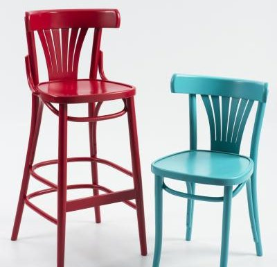 Wooden side chair with frame back range red and blue