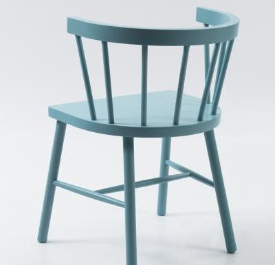 Beech side chair blue rear view