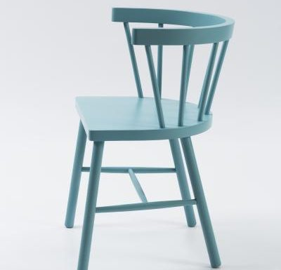 Beech side chair blue side view