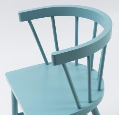 Beech side chair blue close up