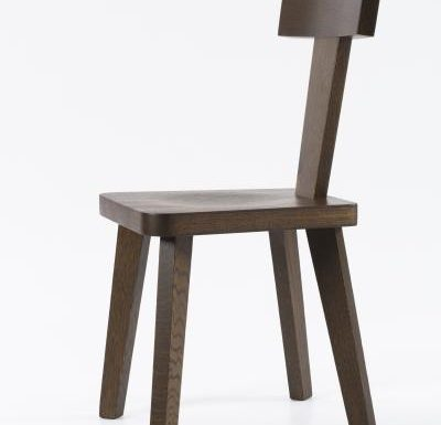 New design café chair brown slightly side view