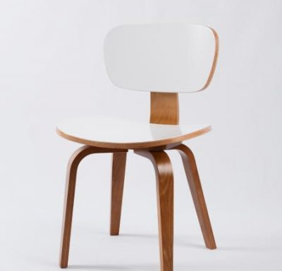 Red plywood bent chair