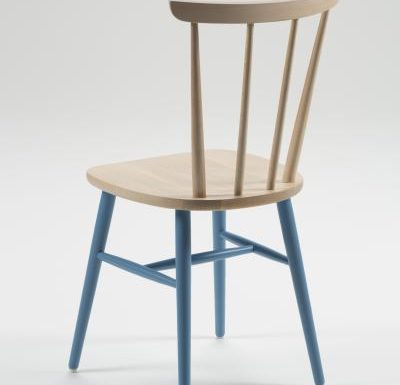 Beech ply-formed stacking side chair blue legs rear view