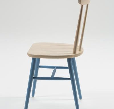 Beech ply-formed stacking side chair blue legs side view