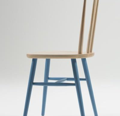 Beech ply-formed stacking side chair blue legs