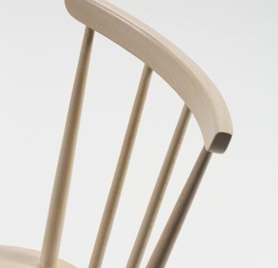 Beech ply-formed stacking side chair close up