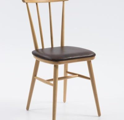 Beech ply-formed stacking side chair brown seat front view