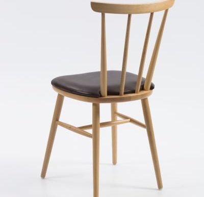 Beech ply-formed stacking side chair brown seat rear view