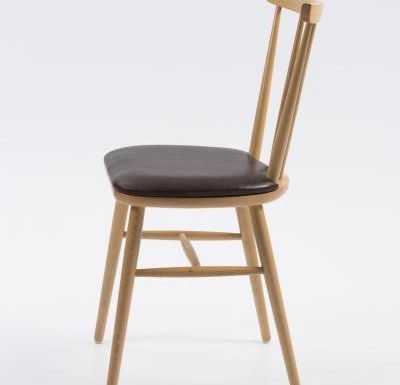 Beech ply-formed stacking side chair brown seat side view