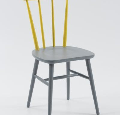 Beech ply-formed stacking side chair yellow front view
