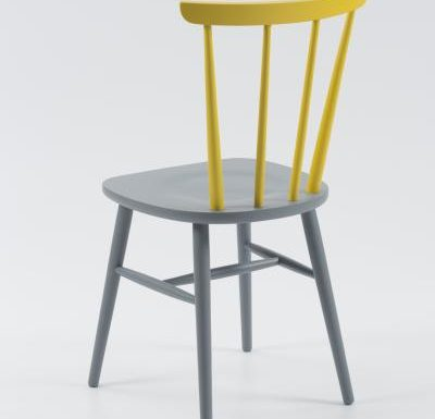 Beech ply-formed stacking side chair yellow rear view