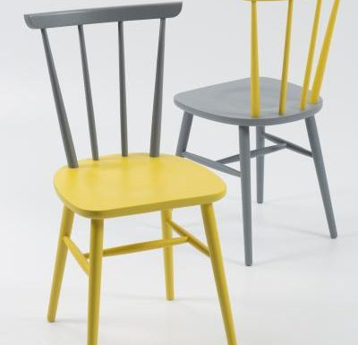 Beech ply-formed stacking side chair grey and yellow
