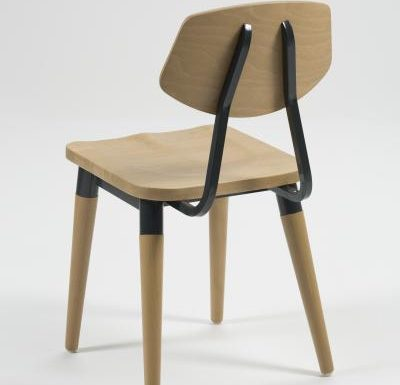 Side chair with steel frame and yellow wooden seat black rear view