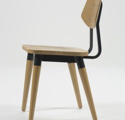 Side chair with steel frame and yellow wooden seat black side view
