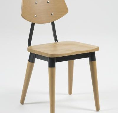Side chair with steel frame and yellow wooden seat black front view