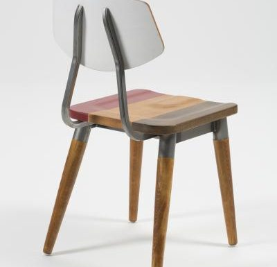 Side chair with steel frame and yellow wooden seat grey rear