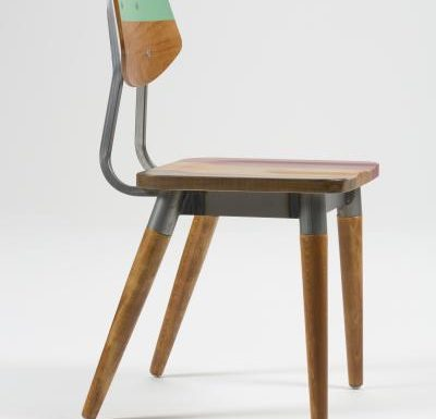 Side chair with steel frame and yellow wooden seat side green