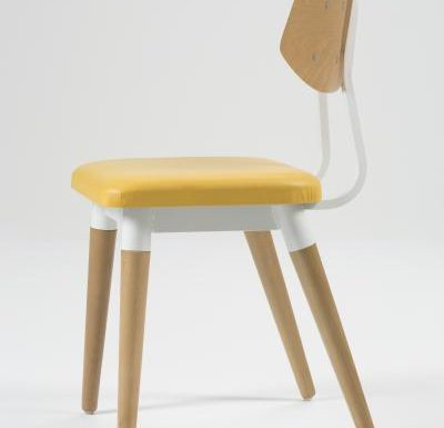 Side chair with steel frame and yellow wooden seat yellow side view