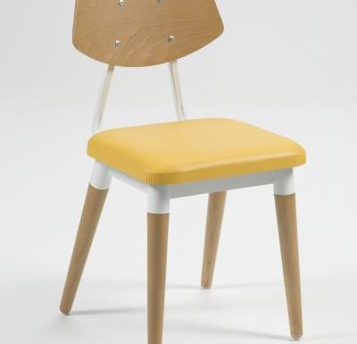 Side chair with steel frame and yellow wooden seat yellow front view