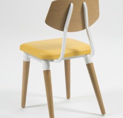 Side chair with steel frame and yellow wooden seat yellow rear view