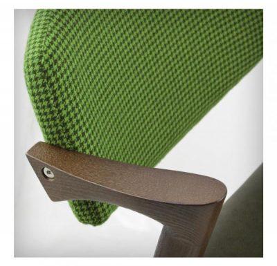 Beech leg frame armchair green upholstery