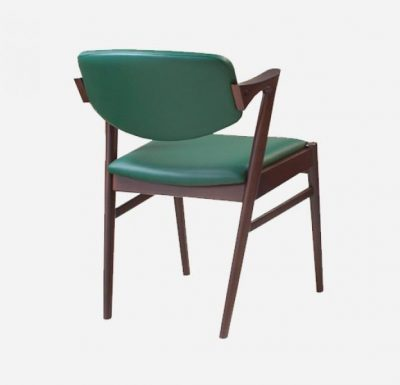 Beech leg frame armchair rear view