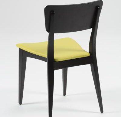 Beech leg frame side chair yellow rear view