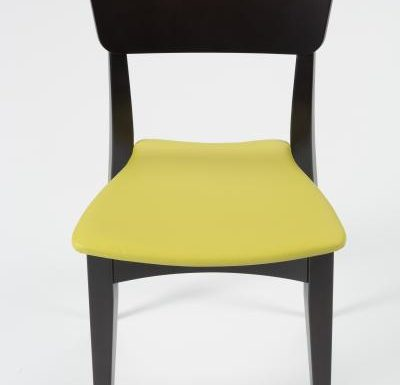 Beech leg frame side chair yellow front view