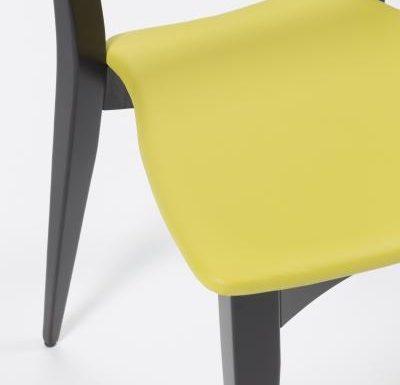 Beech leg frame side chair yellow front close up