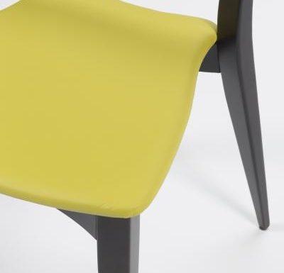 Beech leg frame side chair yellow close up